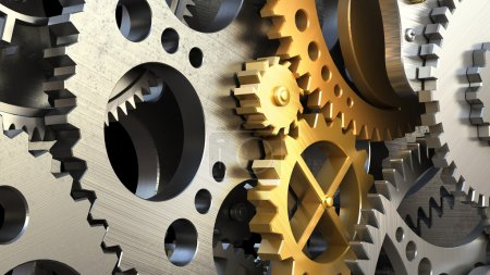 Photo for Clockwork mechanism or a machine inside. Closeup gears and cogs. 3d illustration - Royalty Free Image