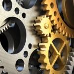 Clockwork mechanism or a machine inside. Closeup g...