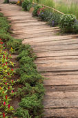 wooden walkway in garden