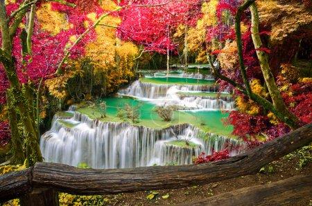 Photo for Deep forest Waterfall ,Huay Mae Khamin, Kanchanaburi ,Thailand - Royalty Free Image