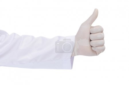 Scientist hand tumbs up isolated on white background