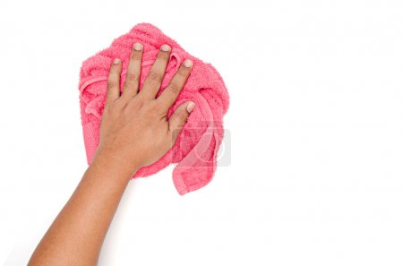 Man hand and red rag cleaning on white