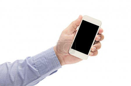 business man hand holding the phone tablet
