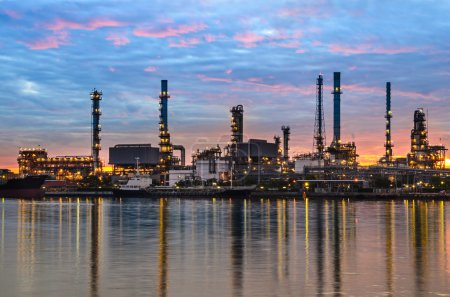 Photo for Oil refinery plant at sunrise - Royalty Free Image