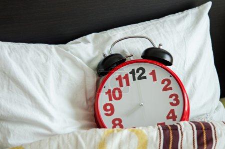 Alarm clock sleeping in bed