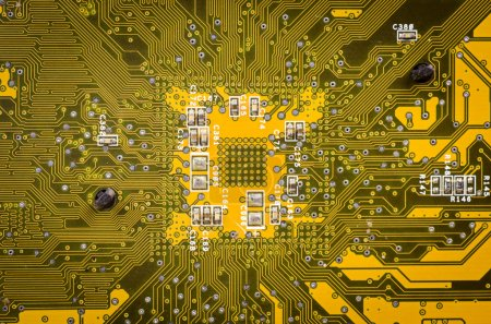 Photo for Lines and solder joints of the modern circuit board - Royalty Free Image