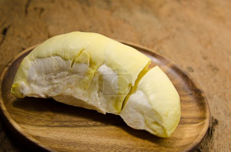 durian in wooden dish