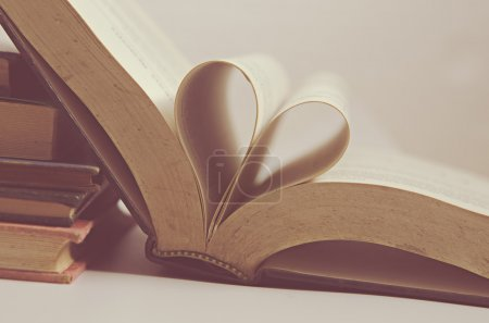 love heart sign on vintage books