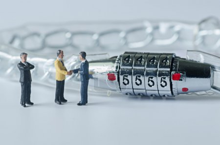 miniature business man and security lock code , business concept