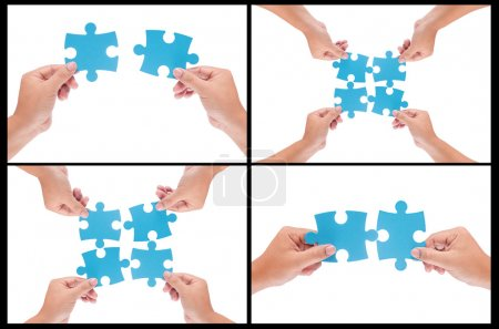 collection of man hand holding jigsaw isolated on white backgrou