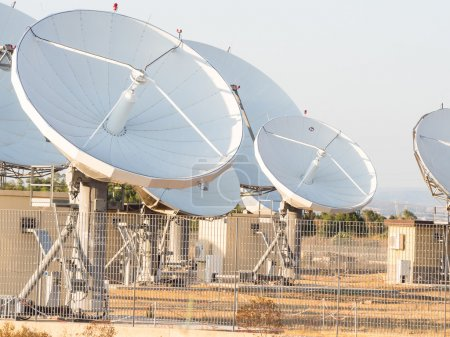 Teleport satellite communications. Group of antenn...