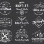 Постер, плакат: Bicycle Builders set 1 white on black