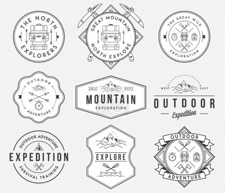 Illustration for Exploration vector badges and labels for any use - Royalty Free Image