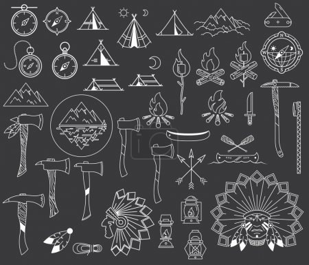 Illustration for Survival and camping vector signs and symbols - Royalty Free Image