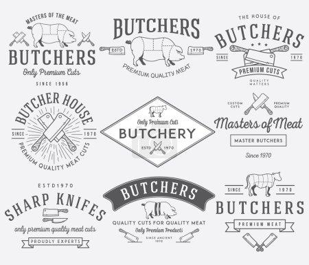 Illustration pour Badges de boucherie vectoriels et étiquettes pour toute utilisation - image libre de droit