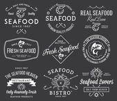 Seafood labels and badges Vol 2 white on black