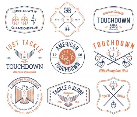 Illustration for Vector American footballl badges and crests - Royalty Free Image