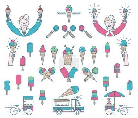 Illustration pour Ensemble de glaces vectorielles avec signes et icônes pour tout usage - image libre de droit