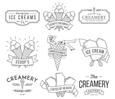 Illustration pour Badges de crème glacée vectorielle et signes pour toute utilisation - image libre de droit