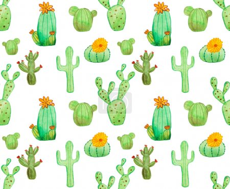 Photo for Watercolor hand drawn cactus seamless pattern. White background. Beautiful cute succulents with flowers. Ideal for sites, brochures, wedding invitation, card, banners etc - Royalty Free Image