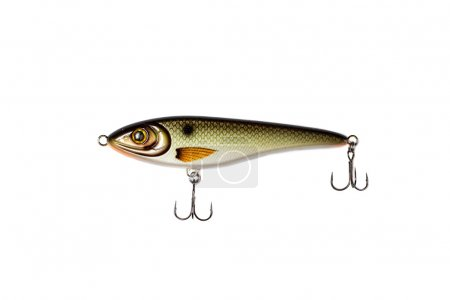 Fishing spoon-bait with hooks isolated