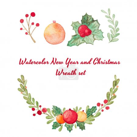 Hand drawn watercolor raster Christmas wreath set isolated on white.  Perfect for invitations, greeting cards, quotes, blogs, wedding frames, posters and more.