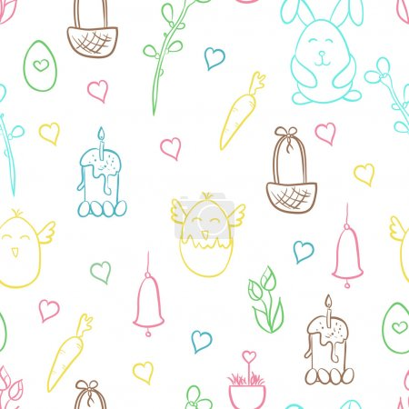 Happy Easter hand drawn cute doodle vector seamless pattern