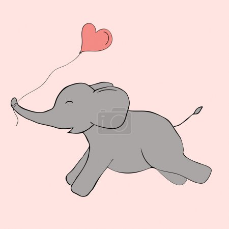 Cute elephant doodle. Vector image