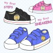 Illustration of children's cute sneakers without s...