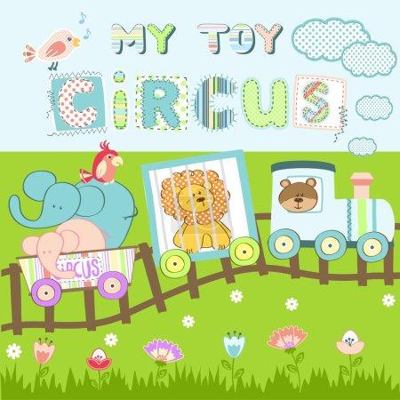 Vector illustration of cartoon toy locomotive with circus animals