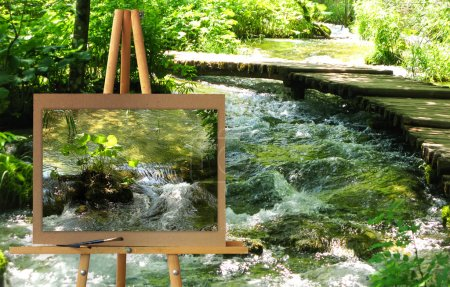 Staffelei mit einem Gemälde Aquarell Reserve Park plitvice Seen, cr