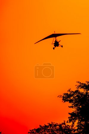 Microlite Aircraft at Sunset