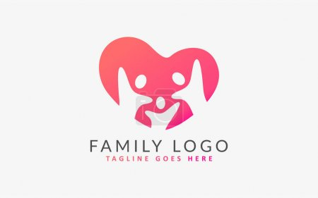 Illustration for Family Group Form a Love Shape, Colorful Logo Illustration. Flat Vector Logo Design Template. Graphic Design Element. - Royalty Free Image