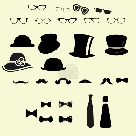 Illustration for Clothes hat glasses mustache bow icon set - Royalty Free Image