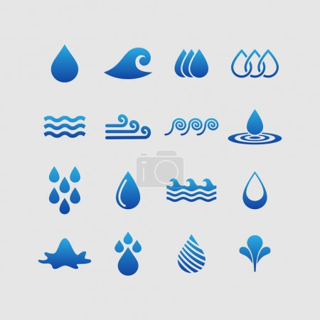 Illustration for Water nature ecology vector icon set - Royalty Free Image