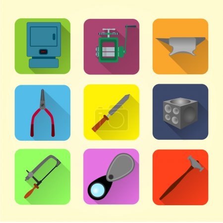 Jeweler tools flat icon set