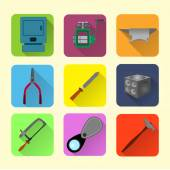 Jeweler tools flat icon set
