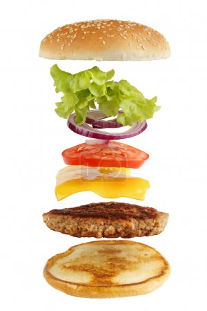 Exploded view of burger