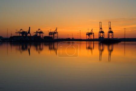 Harbor cranes in port of Vuosaari