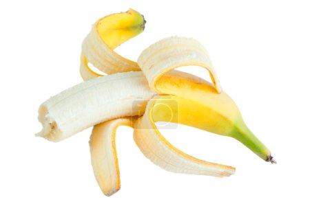 Foto de Plátano, abierto y mordizcones, aislado en blanco - Imagen libre de derechos
