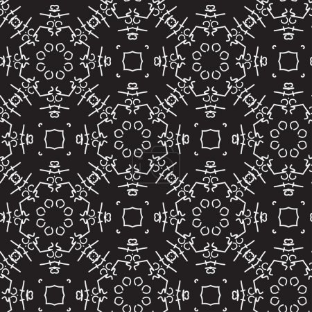 Seamless black and white pattern with abstract figures