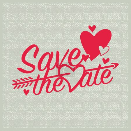 Illustration for Save the date wedding invitation with hearts and arrow. - Royalty Free Image