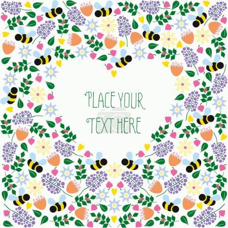 Illustration pour Coeur en forme de texte motif floral et abeille. Placez votre propre texte. Conception vectorielle et illustration - image libre de droit