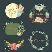 Set of different flower and text compositions Vector and illustration design
