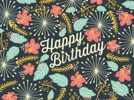 Carte d'anniversaire joyeux avec motif floral fond