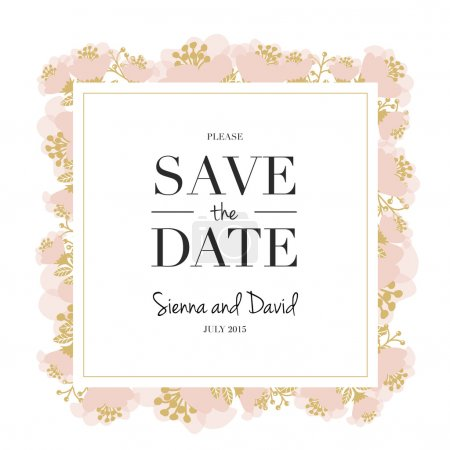 Save the date card with a floral frame with a white background.