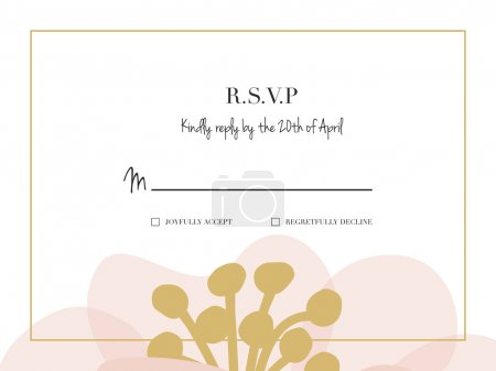 Illustration for RSVP wedding card with one big flower placed on the bottom of the card. - Royalty Free Image