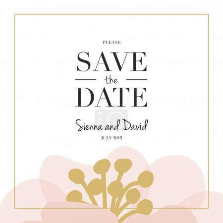 Illustration for Save the Date wedding card with one big flower placed on the bottom of the card. - Royalty Free Image