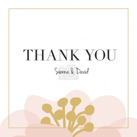 Illustration for Thank you wedding card with one big flower placed on the bottom of the card with a golden frame. - Royalty Free Image