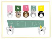 Wild animals holding up signs wishing a happy birthday.